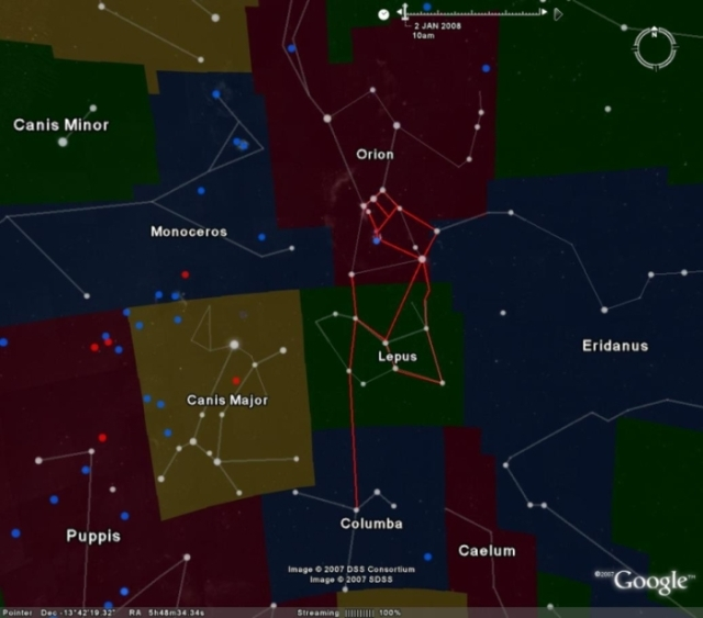 Egypt's Osiris constellation (S3h) is outlined in red.